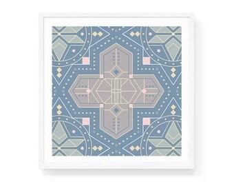Moroccan Sky Art Print   6x6 & 8x8   Morocco, Tile, Blue Square, Backsplash, Cross, Pattern, Stars, Detailed, Tile Art Print, Mediterranean