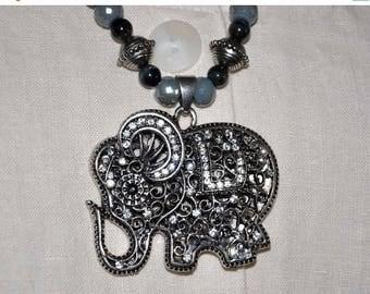 ON SALE Elephant Necklace, Beaded Elephant, Silver Rhinestone Jewelry, Black Beaded Necklace, Silver Necklace, Silver Toggle Clasp, Elephant