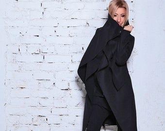 SALE Black Wool Coat/ Cashmere Coat/ Black Coat/ Winter Coat / Wool Coat /Long Coat/ Extravagant Coat /Black Jacket /Warm Jacket/Asymmetric