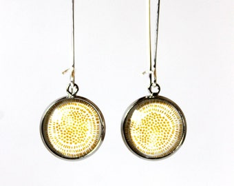 Earrings Cabochon 14 minimalist mm° (yellow)