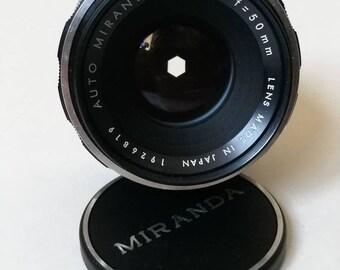 Auto Miranda f 1,8 50 mm Lens for 1970's SLR Camera Miranda Mount