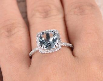 Aquamarine Engagement Ring 14k White Gold Diamond Band 8mm Cushion Cut Aquamarine Ring March Birthstone Ring Diamond HALO Ring Promise Ring