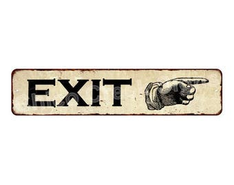 EXITs Right Hand Pointer Sign Vintage Look Metal Sign 4x18 4180025