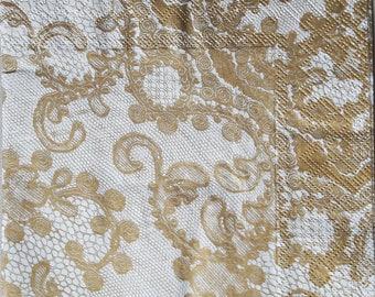 Decoupage paper supplies, Gold Pattern, decoupage paper  Decoupage napkins