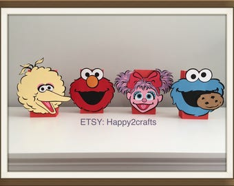 """4 sesame character 7"""" faces for balloon weight centerpieces"""