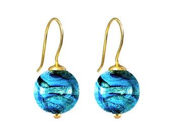 Murano Glass 'Gaia' Bead Earrings in Turquoise by Mystery of Venice, Italy, Venetian Earrings, Murano Glass Beads, Gaia Earrings,