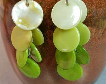 neon green disc drop/dangle earrings