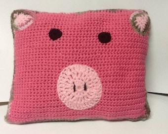 Crochet pig pillow