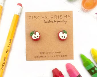 Apple Earrings, Back to School Earrings, School Earrings, Apple Earrings, Teacher Gifts, Teacher Earrings, School Jewelry, Red Apples, Apple