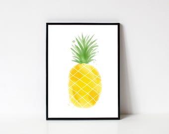 Pineapple Digital Art Print Download, Summer Print, Summer Wall Art Prints, Pineapple Wall Art Print, Wall Art Printable, Printable Art