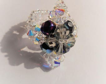 Exquisite ring Pearl Crystal, Czech glass bead and seed beads, customizable