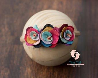 Rainbow Baby Newborn Headband,Baby Headband,Baby Girl Headband,Infant Headband,Headband,Photo Prop,Flower Headband,Newborn Photo Prop