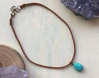 turquoise magnesite choker, choker necklace, turquoise choker