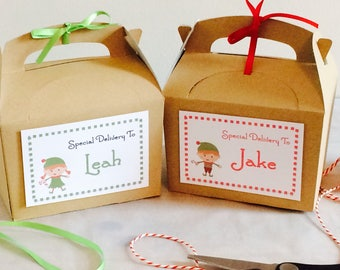 Personalised Christmas Eve Box, Elf Design. Ribbon & matching tissue paper.