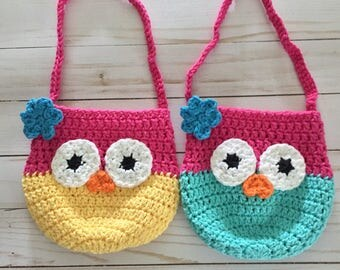 Crochet Purse with Owl , Owl Purse, Crochet Girls Purse, Toddler Purse,  Small Purse , dress up Purse, toddler birthday gift