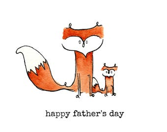 Printable Father's Day Card / Watercolour Father's Day Card / Fox Father's Day Card/ Hand-painted Father's Day Card by Wychbury Ave