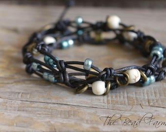 Leather Wrap Bracelet, Beaded Wrap Bracelet, Knotted Leather Bracelet, Knotted Leather Wrap Bracelet, Leather Necklace