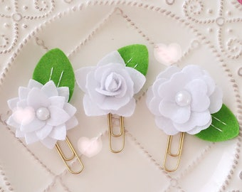 Planner Clip Set: White Felt Flowers Gold PaperClip | Page Clip | Bookmark | Page Marker . Planner accessories supply.