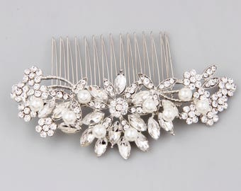 Bridal Hair Comb Silver, Pearl Hair Comb, Wedding Hair Comb, Crystal Hair Comb, Bridal Headpiece, Bridal Hair Accessories, Floral Hair Piece