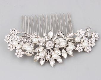 Bridal Hair Comb, Pearl Hair Comb, Wedding Hair Comb, Crystal Hair Comb, Bridal Headpiece, Wedding Hair Accessories, Floral Hair Piece Pin
