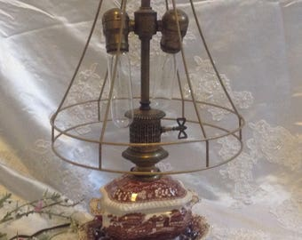 Upcycled Lamp Vintage Victorian Steampunk Industrial Table Lamps