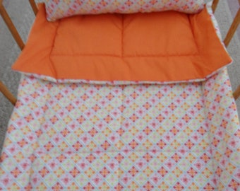 "Doll Bedding, Doll Blanket & Doll Pillow, Orange Flannel Doll Bedding, 18"" Dolls, Flannel Doll Bedding Set, Doll Crib Bedding, Handmade, New"