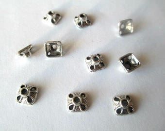 10 cups 8.5 mm antiqued silver tone metal