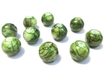 10 Brown, green painted glass 10mm beads
