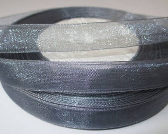 10 m 12mm grey organza Ribbon