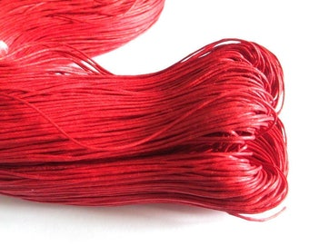 10 meters red waxed cotton thread 1 mm