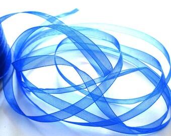 5 m organza Ribbon dark blue 6mm