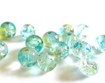 10 beads light blue and yellow Crackle and speckled 8mm (H-23)
