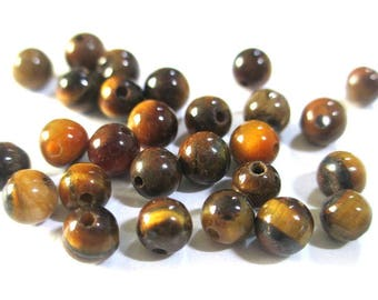 20 Tiger eye beads 4mm, natural (G-02)