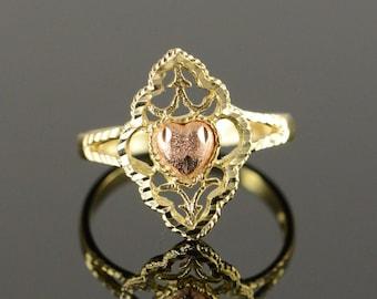 14k Filigree Rose Heart Ring Gold