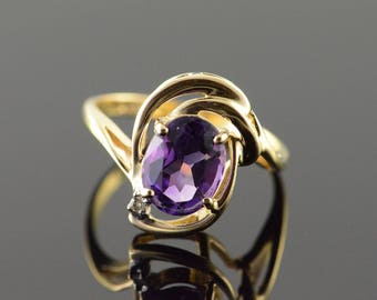 14k 1.25 CT Amethyst Oval Bypass Ring Gold