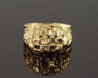 14k Woven Filigree Band Ring Gold