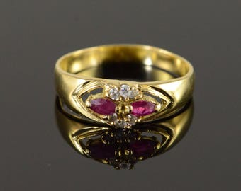 14k 0.40 CTW Ruby CZ Band Ring Gold