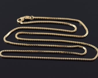 14k 1.5mm Box Link Chain Necklace Gold 23.5""