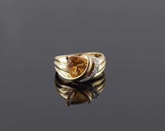 14k 2.30 CTW Citrine Diamond Trilliant Ring Gold