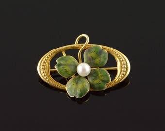 14k Vintage 4mm Green Enamel Four Leaf Clover Shamrock Pin/Brooch Gold