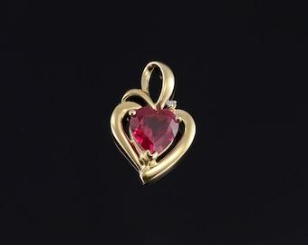 14k Ruby* Heart Cut Diamond Accent Pendant Gold
