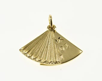 14k Articulated Pleated Fan I Love You Pendant Gold