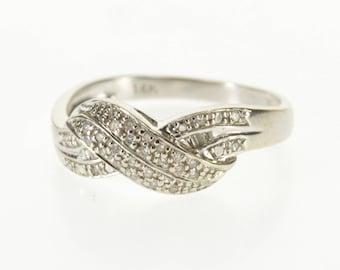 14k Diamond Pave Encrusted Wavy Curvy Band Ring Gold