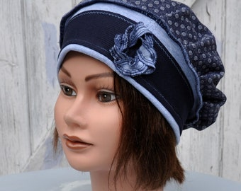 Beret soft gray blue with polka dots and Navy Blue - size M 56/57, 5cm