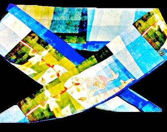 "Art Headband ""Sinbad""-Paul Klee-  a Colorful Artsy, Rockability-Artistic Scarf-Dolly Bow, Top Knot, Tie Up Fine Art Hair Accessory"