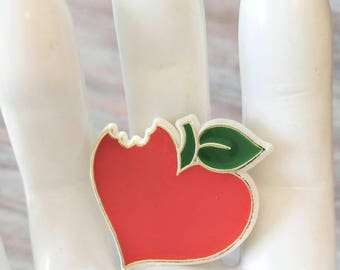 HEART APPLE Vintage Signed Hallmark 1984 Brooch/Pin-Teachers Gift-Love-Red, Green, Fruit, Food-All Orders Only 99c Shipping!!