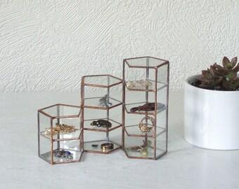 Set of Three Copper Glass Display Cases, glass display box, jewelry display case, stained glass box, geometric glass box