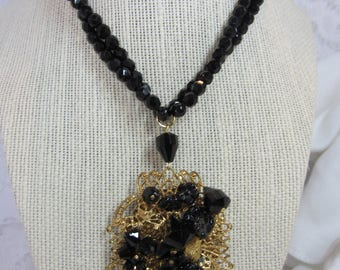 Art Nouveau Black Crystal Bead and Gold Tone Pendant Double Strand Necklace