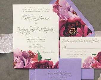 Sample Floral Fantasy wedding invitations