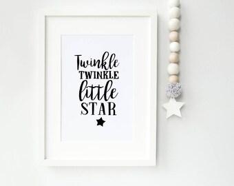 Twinkle Twinkle Little Star Modern Nursery Print